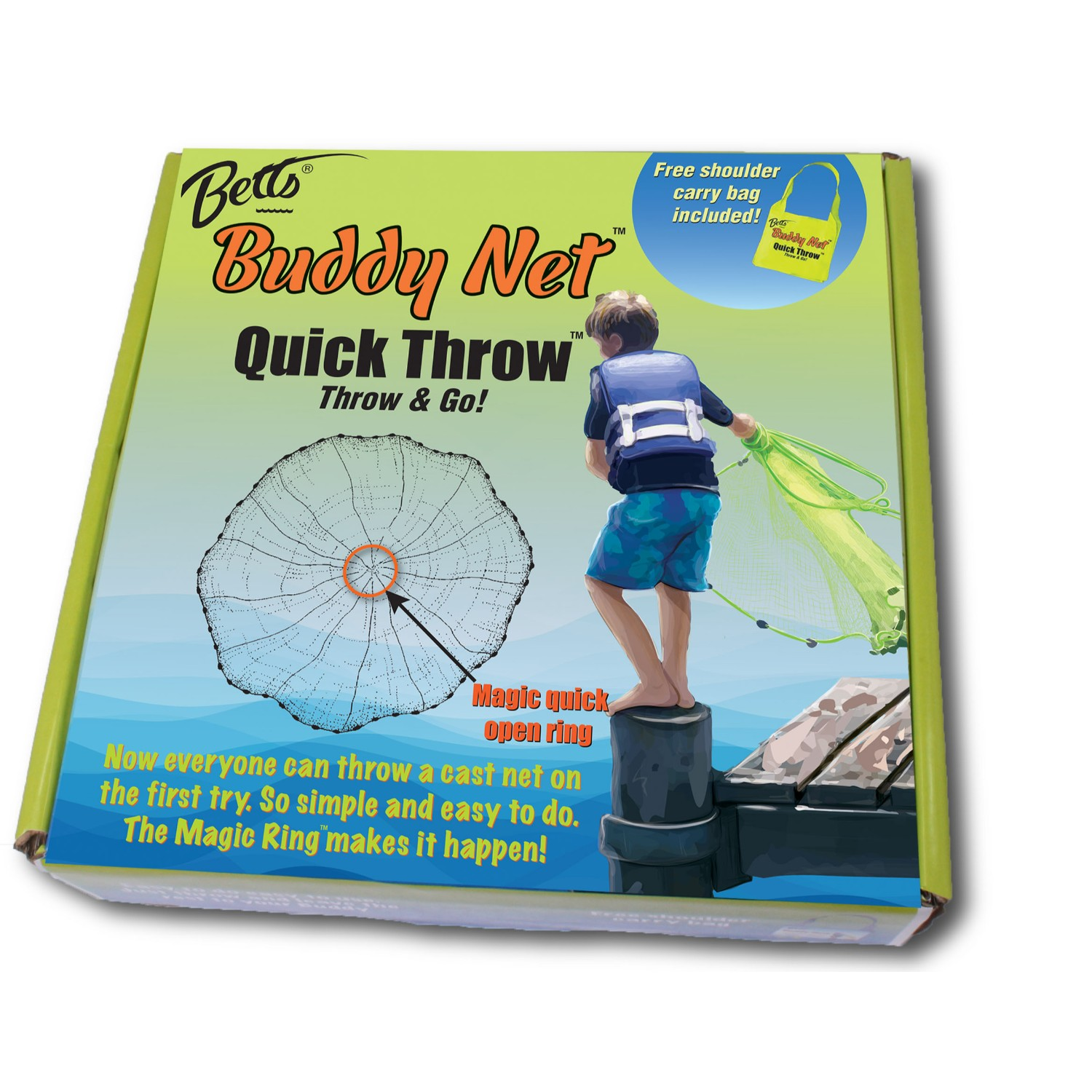 Betts Buddy Quick Throw Net 4ft 0.375in mesh Chartreuse