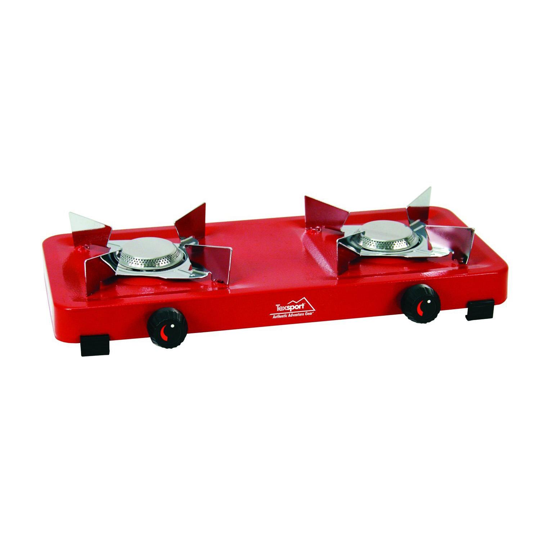 Texsport Dual Burner Propane Stove Uses 16.4oz OR 14.1oz